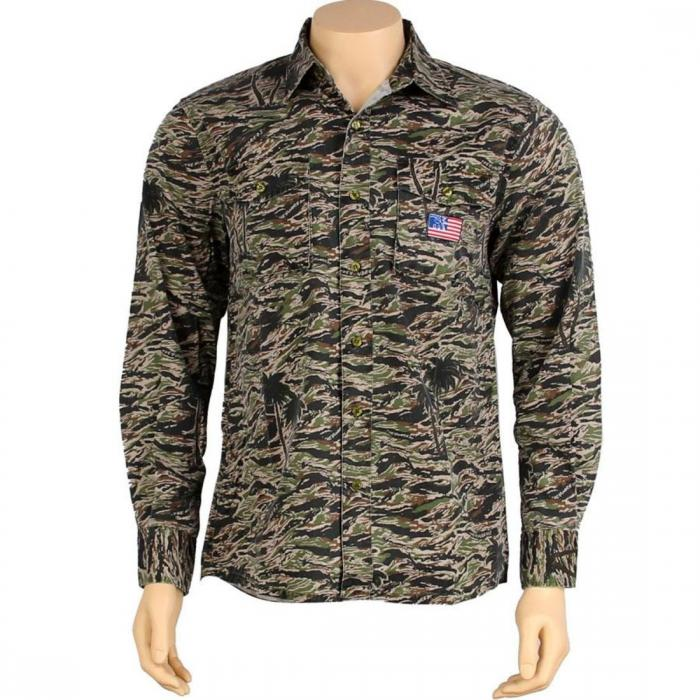 【海外限定】スリーブ 【 SLEEVE THE HUNDREDS STANLEY LONG SHIRT WOODLAND CAMO 】