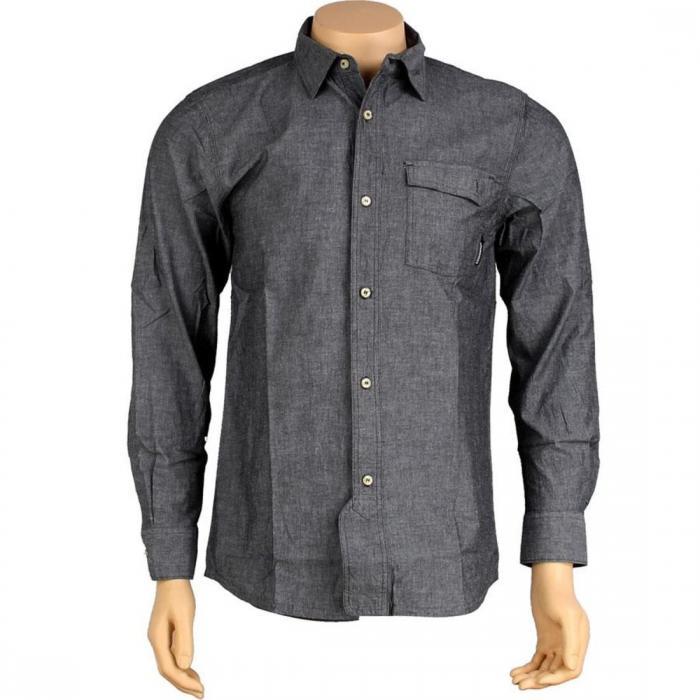 スタックス ロング スリーブ シャツ 黒 ブラック トップス 長袖 カジュアルシャツ メンズファッション 【 SLEEVE BLACK THE HUNDREDS STACKS LONG SHIRT 】