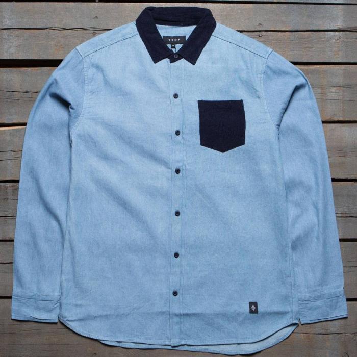 メン ロング スリーブ ボタン アップ シャツ 青 ブルー トップス 長袖 メンズファッション カジュアルシャツ 【 SLEEVE BLUE AKOMPLICE MEN ADDISON LONG BUTTON UP SHIRT 】