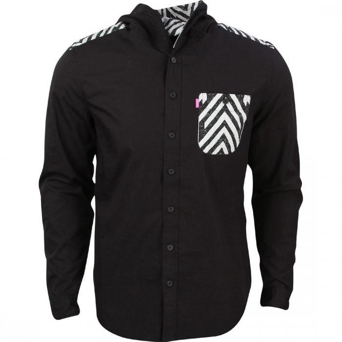 メン シャツ 黒 ブラック トップス 長袖 カジュアルシャツ メンズファッション 【 BLACK MISHKA MEN CRAVEN HOODED SHIRT 】
