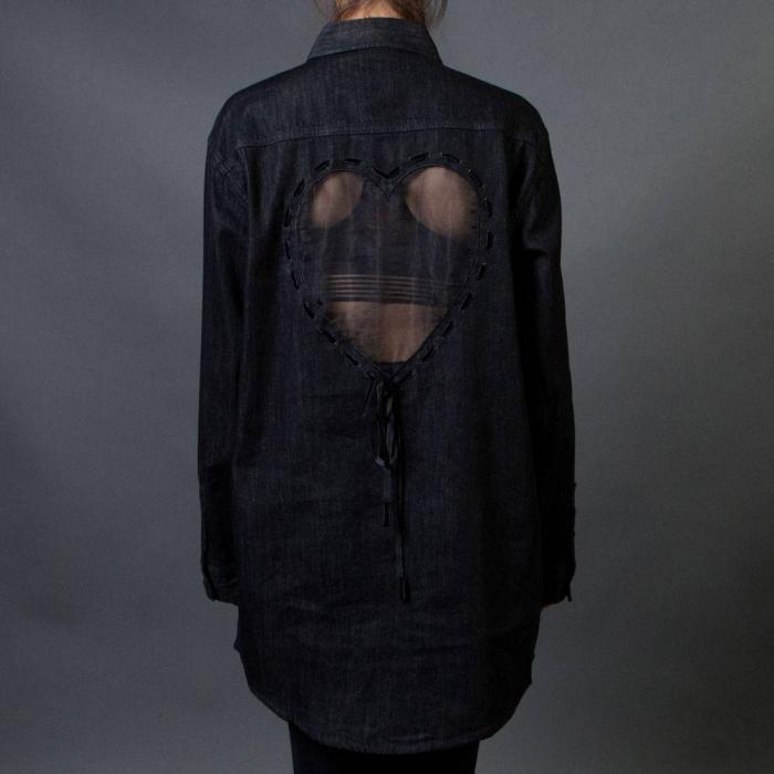 レイジー ウーメン ハート デニム シャツ 青 ブルー トップス 長袖 メンズファッション カジュアルシャツ 【 BLUE LAZY OAF WOMEN SHEER HEART DENIM SHIRT 】