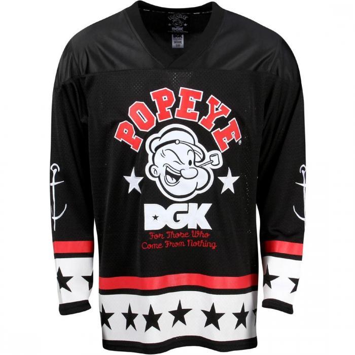 ディージーケー メン ストロング フィニッシュ ホッケー ジャージ 黒 ブラック トップス 半袖 メンズファッション Tシャツ カットソー 【 BLACK DGK X POPEYE MEN STRONG TO THE FINISH HOCKEY JERSEY 】