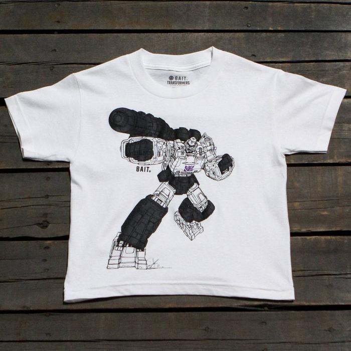 アート 子供用 Tシャツ 白 ホワイト トップス 半袖 カットソー メンズファッション 【 BAIT X TRANSFORMERS MEGATRON ART YOUTH TEE WHITE 】