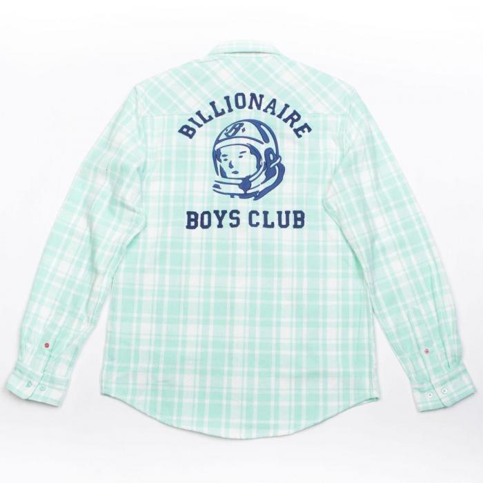 【海外限定】ビリオネア ビッグキッズ 子供用 クラブ メン ロング スリーブ ウーブン ビーチ 【 SLEEVE WOVEN BILLIONAIRE BOYS CLUB MEN CHECKS LONG GREEN BEACH GLASS 】