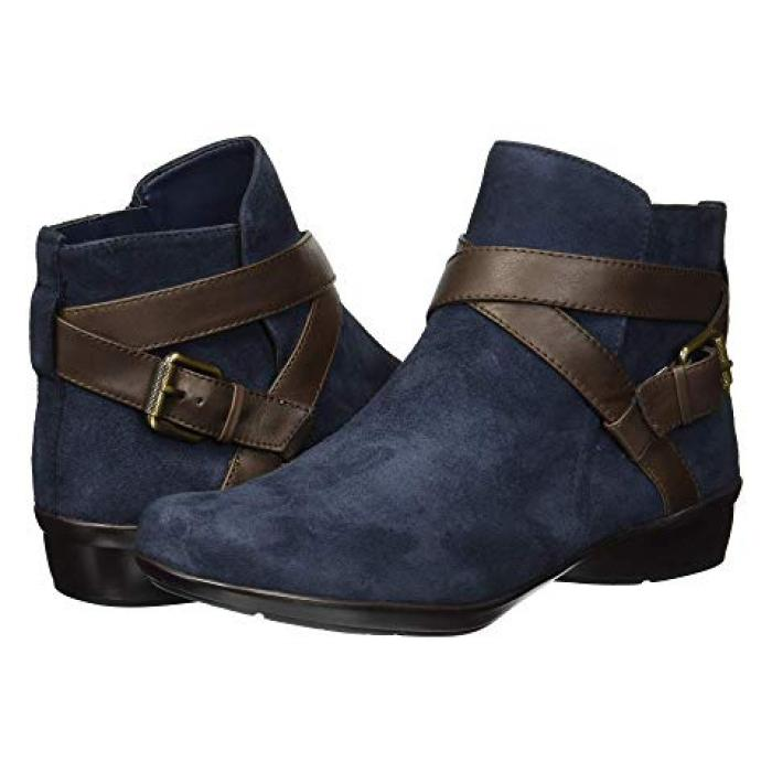 レディース 女性用 ブーツ 【 NATURALIZER CASSANDRA NAVY BROWN SUEDE LEATHER 】