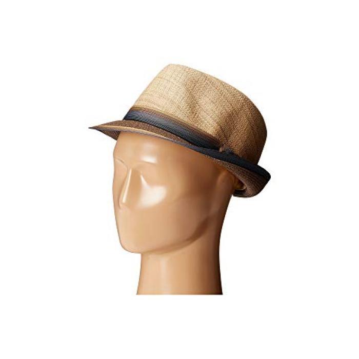 マット ストリップ リボン バンド 茶 ブラウン レディース 女性用 小物 レディース帽子 【 SCALA MATTE RAFFIA BRAID FEDORA WITH STRIP RIBBON BAND BROWN 】