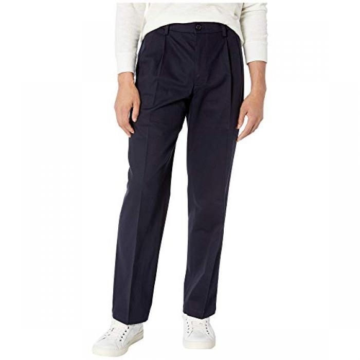リラックス フィット シグネイチャー カーキ ルクス コットン ストレッチ パンツ プリーツ 紺 ネイビー メンズ 男性用 ズボン メンズファッション 【 NAVY DOCKERS RELAXED FIT SIGNATURE KHAKI LUX COTTON S