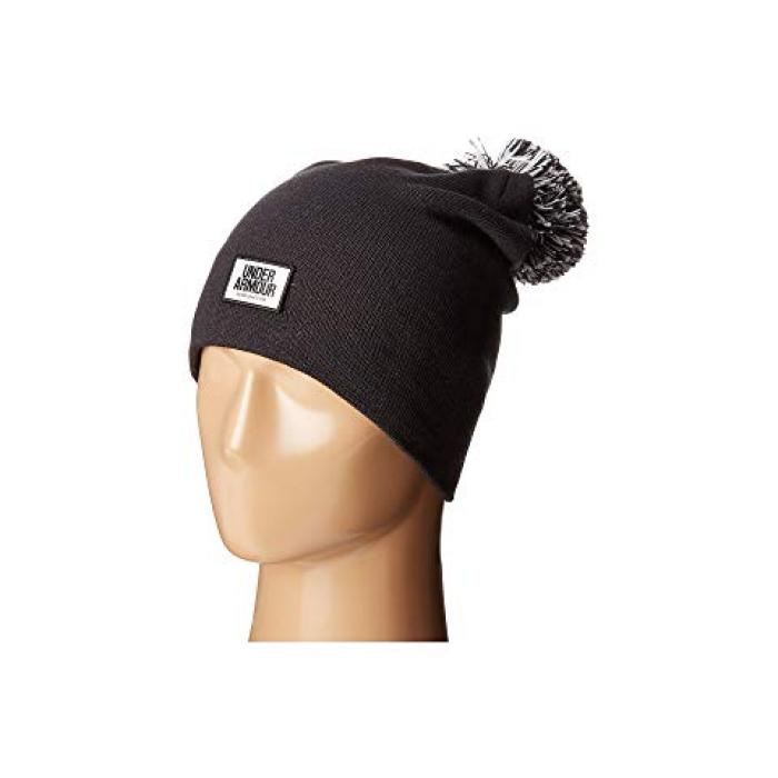 アンダー アーマー グラフィック キャップ 帽子 アンダーアーマー レディース 女性用 ニット帽 レディース帽子 【 UNDER ARMOUR GRAPHIC POM BEANIE BLACK WHITE 】