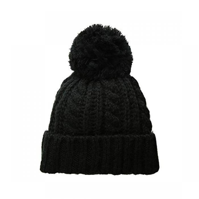 ハット アタック ソフト ケーブル キャップ 帽子 ニット 黒 ブラック レディース 女性用 バッグ ニット帽 【 BLACK HAT ATTACK SOFT CABLE BEANIE WITH KNIT POM 】