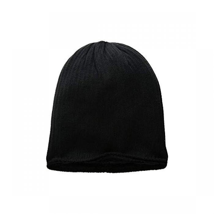 ハット アタック リブ ニット コージー キャップ 帽子 黒 ブラック レディース 女性用 小物 レディース帽子 【 BLACK HAT ATTACK RIB KNIT COZY BEANIE 】