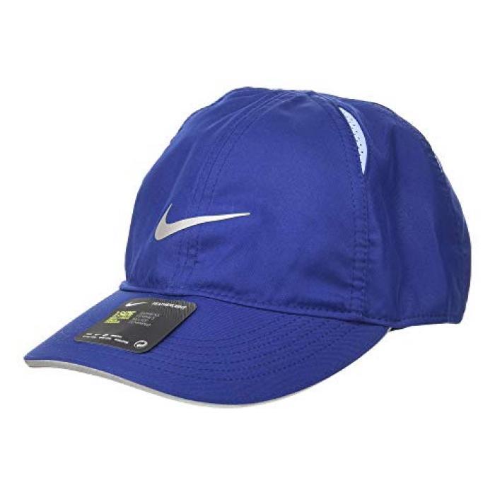 ナイキ キャップ 帽子 ラン 青 ブルー 銀色 シルバー レディース 女性用 バッグ 小物 【 NIKE BLUE FEATHERLIGHT CAP RUN VOID ALUMINUM REFLECTIVE SILVER 】