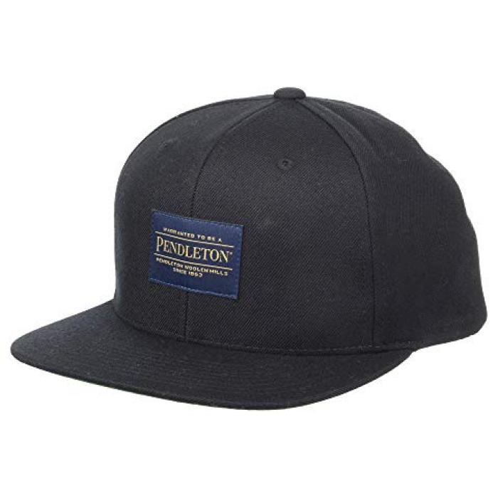 ロゴ フラット ブライム キャップ 帽子 黒 ブラック メンズ 男性用 バッグ 小物 【 BLACK PENDLETON LOGO FLAT BRIM CAP 】