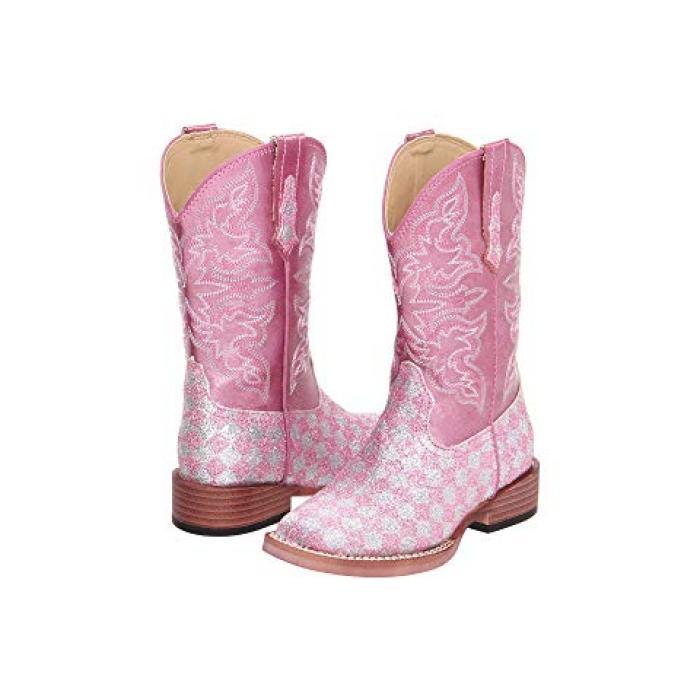 【エントリーで全商品ポイント10倍1/9 20:00-1/16 01:59迄】ブリンブリン グリッター ピンク & 子供用 リトルキッズ 靴 ブーツ 【 PINK ROPER KIDS BLING GLITTER TODDLER 】