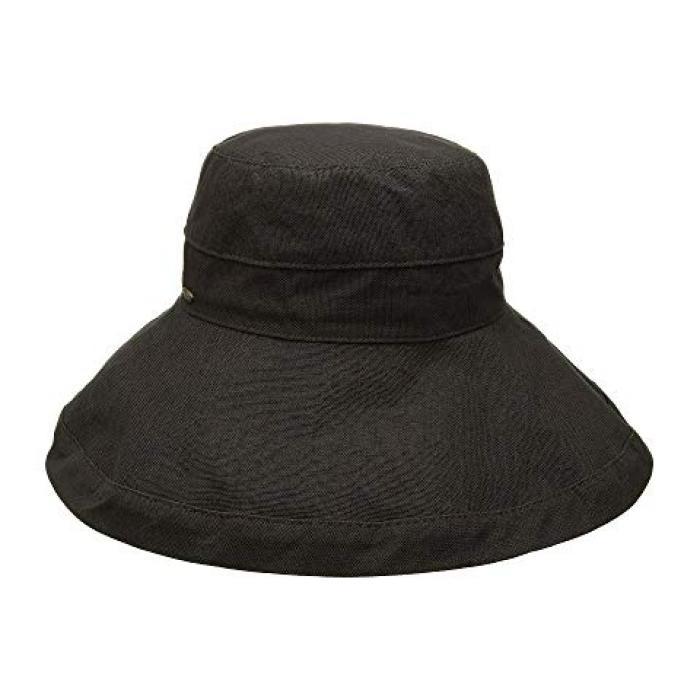 ビッグ ブライム コットン サン ハット チャコール レディース 女性用 帽子 バッグ 【 SCALA BIG BRIM COTTON SUN HAT CHARCOAL 】