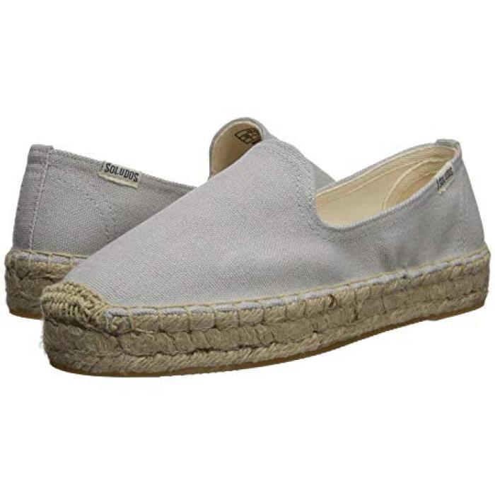 プラットフォーム スモーキング スリッパ 灰色 グレー グレイ レディース 女性用 靴 ローファー 【 GRAY SOLUDOS PLATFORM SMOKING SLIPPER 】