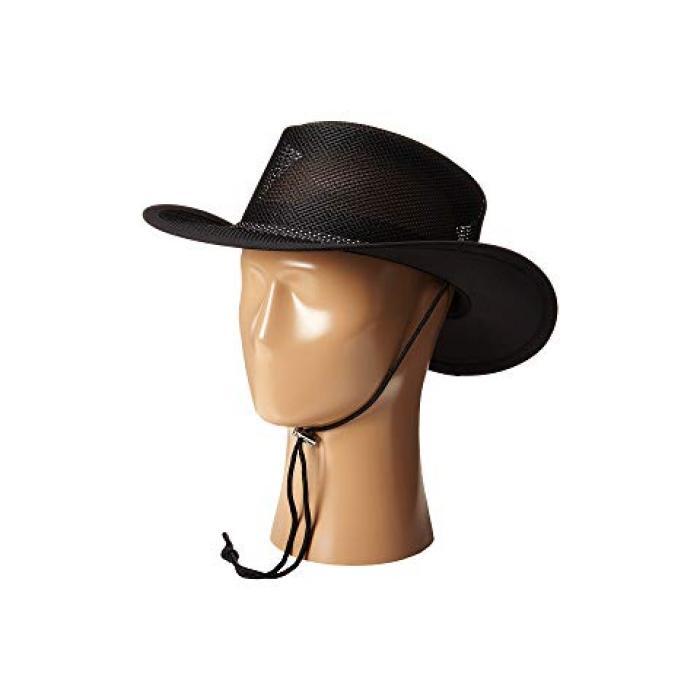 メッシュ サファリ コード 黒 ブラック レディース 女性用 帽子 レディース帽子 【 BLACK STETSON MESH COVERED SAFARI WITH CHIN CORD 】