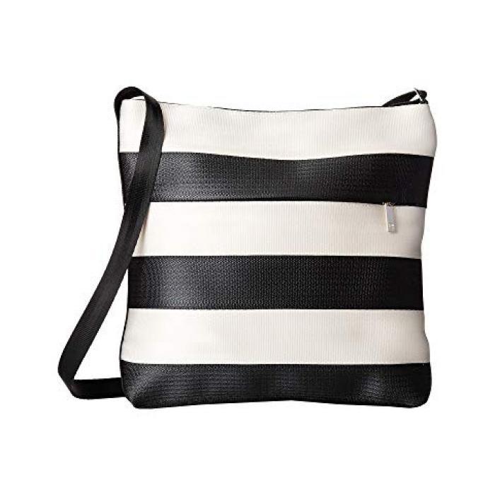 バッグ クロスボディ レディース 女性用 ハンドバッグ 【 HARVEYS SEATBELT BAG STREAMLINE CROSSBODY BLACK WHITE 】