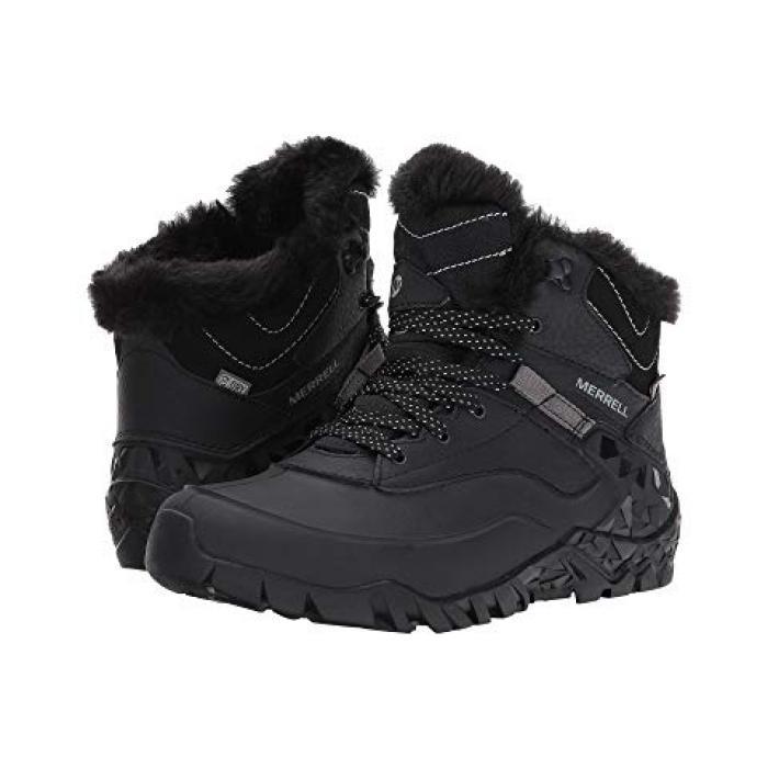 オーロラ ウォータープルーフ 防水 黒 ブラック ICE+ レディース 女性用 ブーツ 【 BLACK MERRELL AURORA 6 WATERPROOF 】