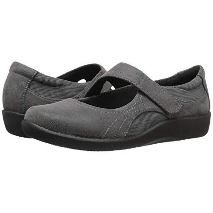 クラークス ベラ GRAY灰色 グレイ ヌバック レディース 女性用 靴 レディース靴 【 GREY CLARKS SILLIAN BELLA SYNTHETIC NUBUCK 】