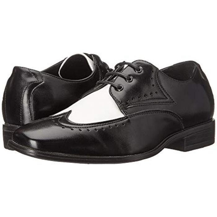 アダムス 子供用 リトルキッズ 靴 フォーマル靴 【 STACY ADAMS KIDS ATTICUS BLACK WHITE 】