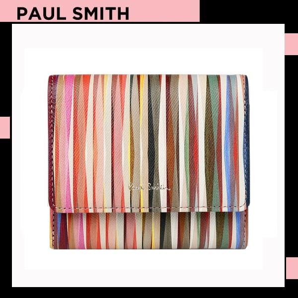 ポールスミス Paul Smith レディース 財布 長財布 クロスオーバーストライプ 2つ折り財布