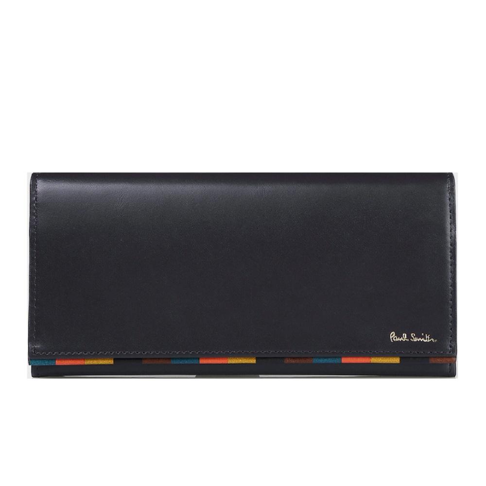 ポールスミス Paul Smith メンズ 財布 かぶせ ブライトストライプトリム 長財布 ネイビー