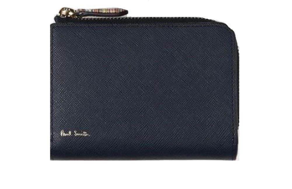 ポールスミス 財布 メンズ レディース Paul Smith ジップストローグレイン 2つ折財布 ネイビー 送料無料 代引き料有料 消費税込