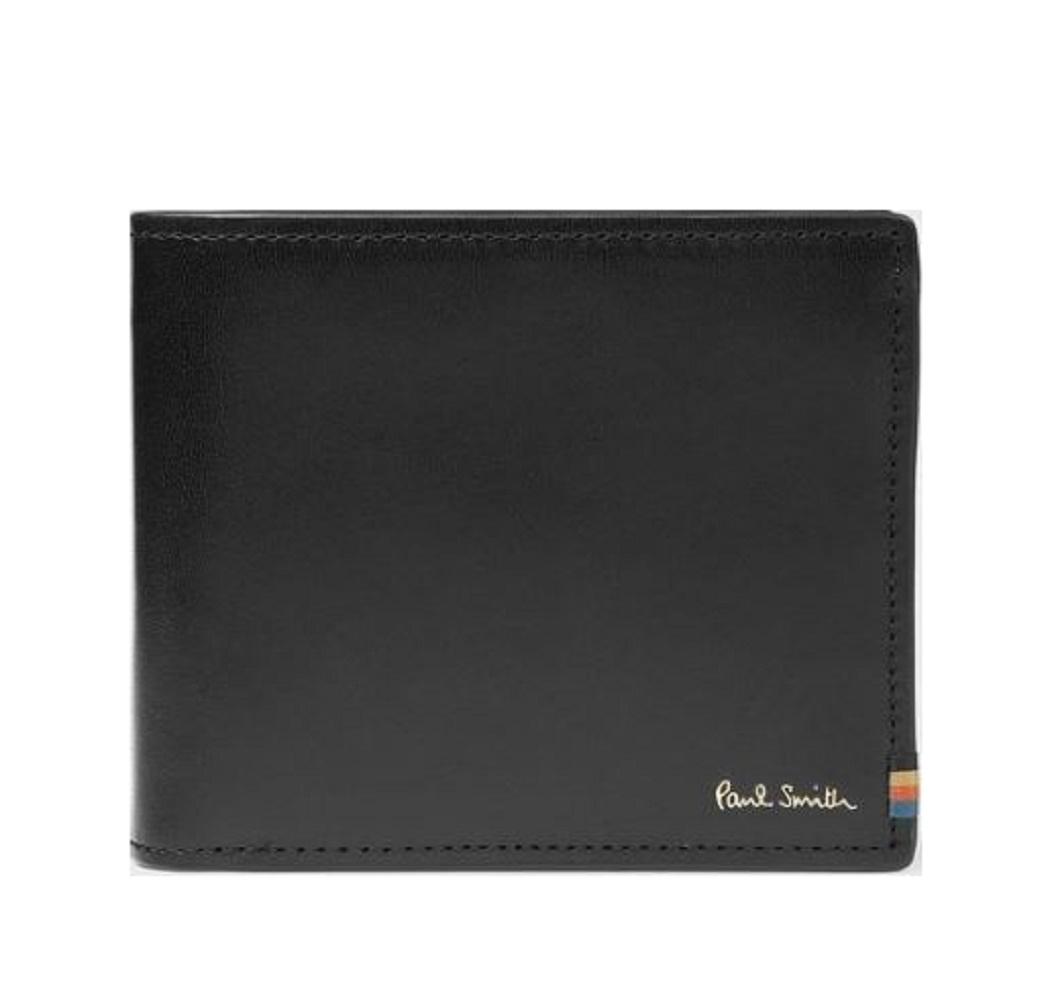 ポールスミス Paul Smith 財布 ポールスミス 財布 メンズ ストライプステッチタブ 二つ折り 4カラー ブラック ネイビー ダークブラウン ブラウン