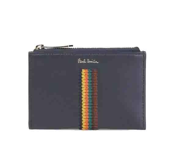 ポールスミス Paul Smith メンズ エンブロイダードストライプ カードケース 財布コインケース ネイビー