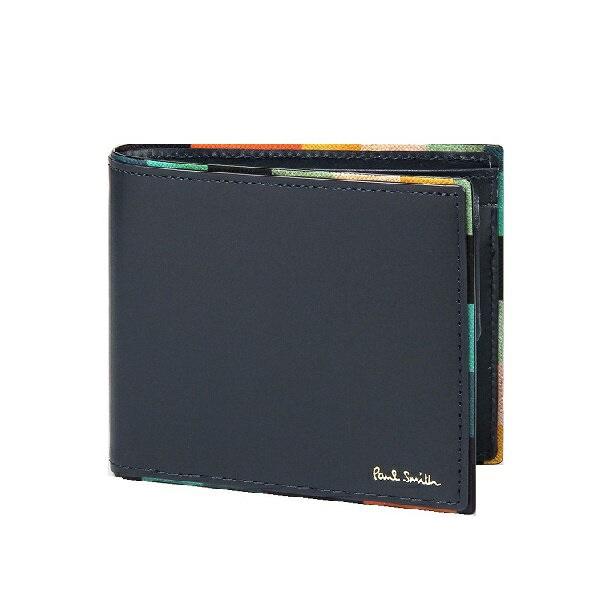 ポールスミス Paul Smith メンズ 財布 長財布 アーティスト ストライプ ポップ 2つ折り 財布 ネイビー 送料無料 代引き料有料 消費税込