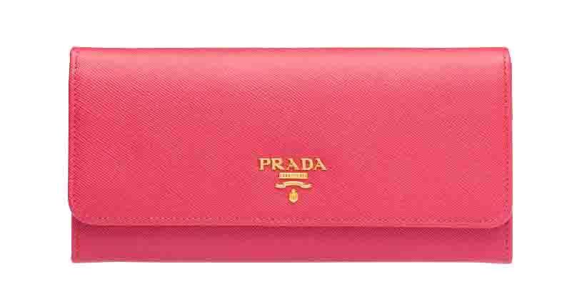 プラダ サフィアーノ PRADA レザー 財布 かぶせ 長財布 レディース ピンク