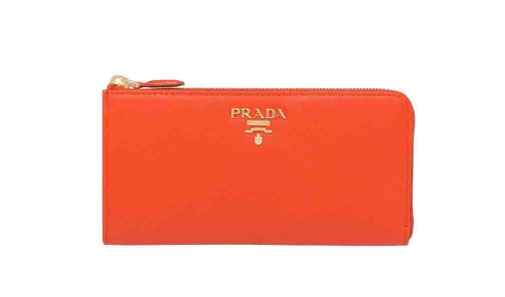 プラダ サフィアーノ PRADA レザー 財布 L字 長財布 レディース オレンジ