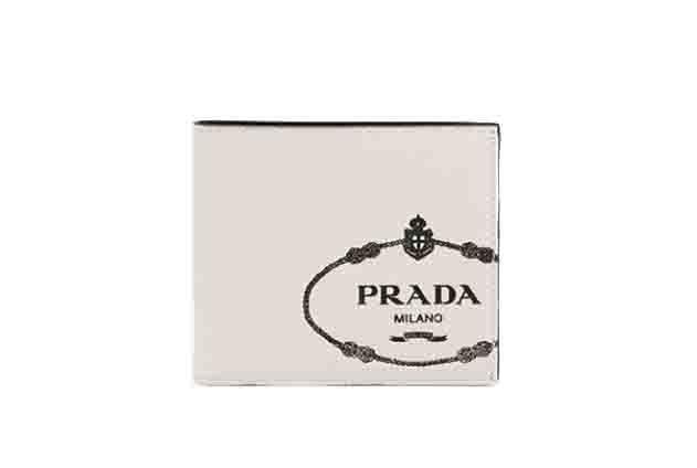 プラダ メンズサフィアーノ PRADA レザー 財布 2つ折り オフホワイトブルー