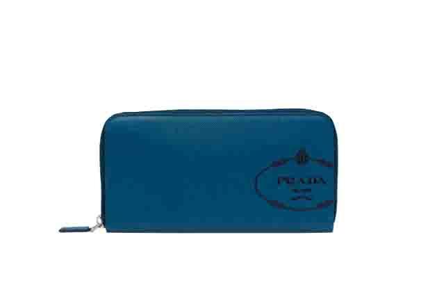 プラダ メンズ サフィアーノ PRADA レザー 財布 ラウンドファスナー ブラックブルー