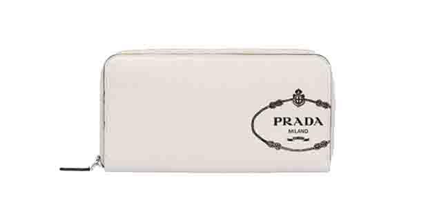 プラダ メンズ サフィアーノ PRADA レザー 財布 ラウンドファスナー オフホワイトブルー