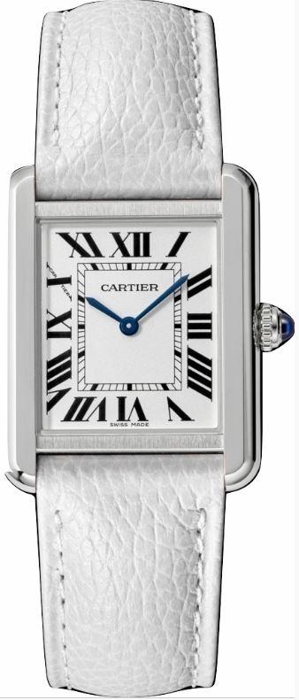 カルティエ CARTIER 時計 タンクソロ SM 腕時計 ホワイト グレインド カーフスキン