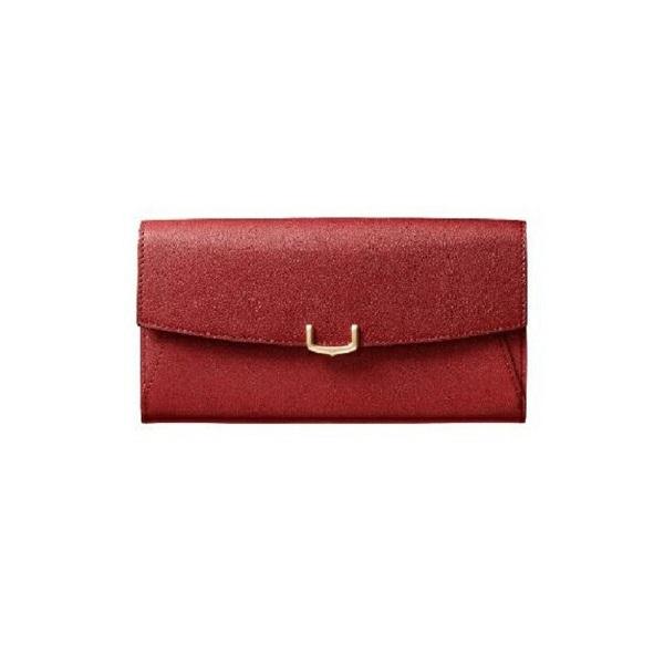 C ドゥ カルティエ 2 Cartier インターナショナル ワレット 長財布 かぶせ レッド