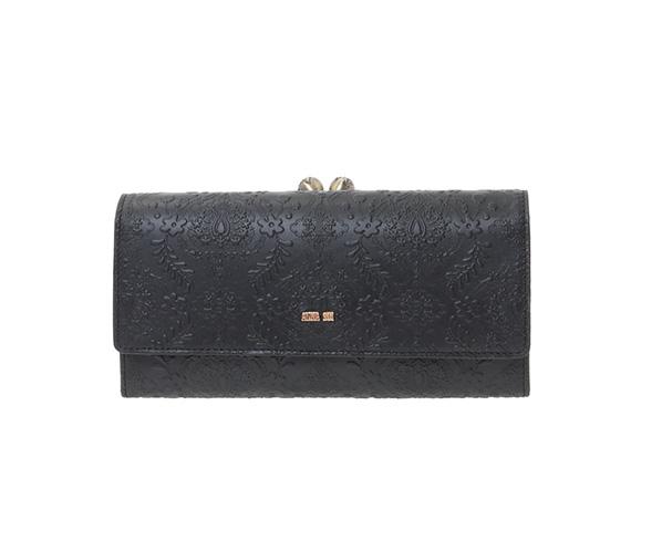 ANNA SUI アナスイ ヴィクトリア 口金 長財布 がま口 かぶせ ブラック