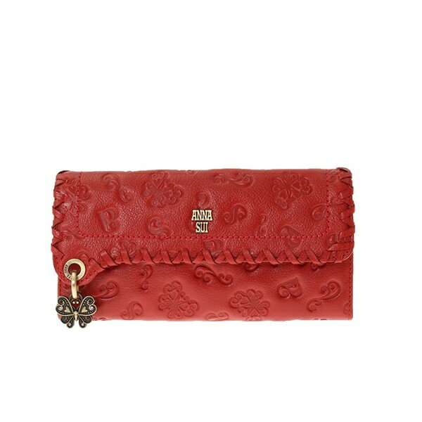 アナスイ ANNA SUI 財布 長財布 ダリア がま口 かぶせ 外口金 長財布 財布 レッド