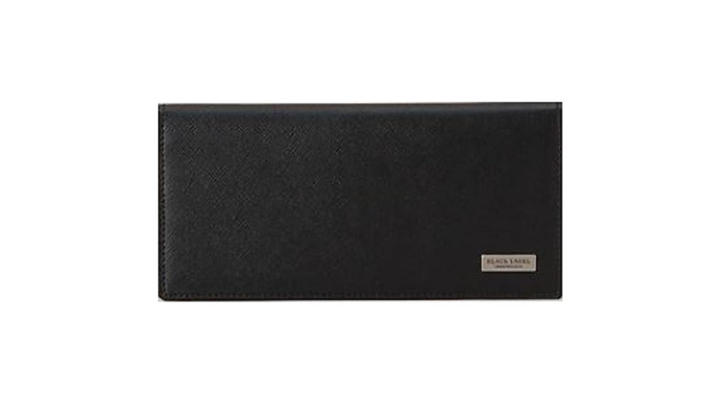 ブラックレーベル 財布 BURBERRY BLACK LABEL かぶせ長財布 カラーエンボスクレストブリッジチェックロングウォレット ブラック
