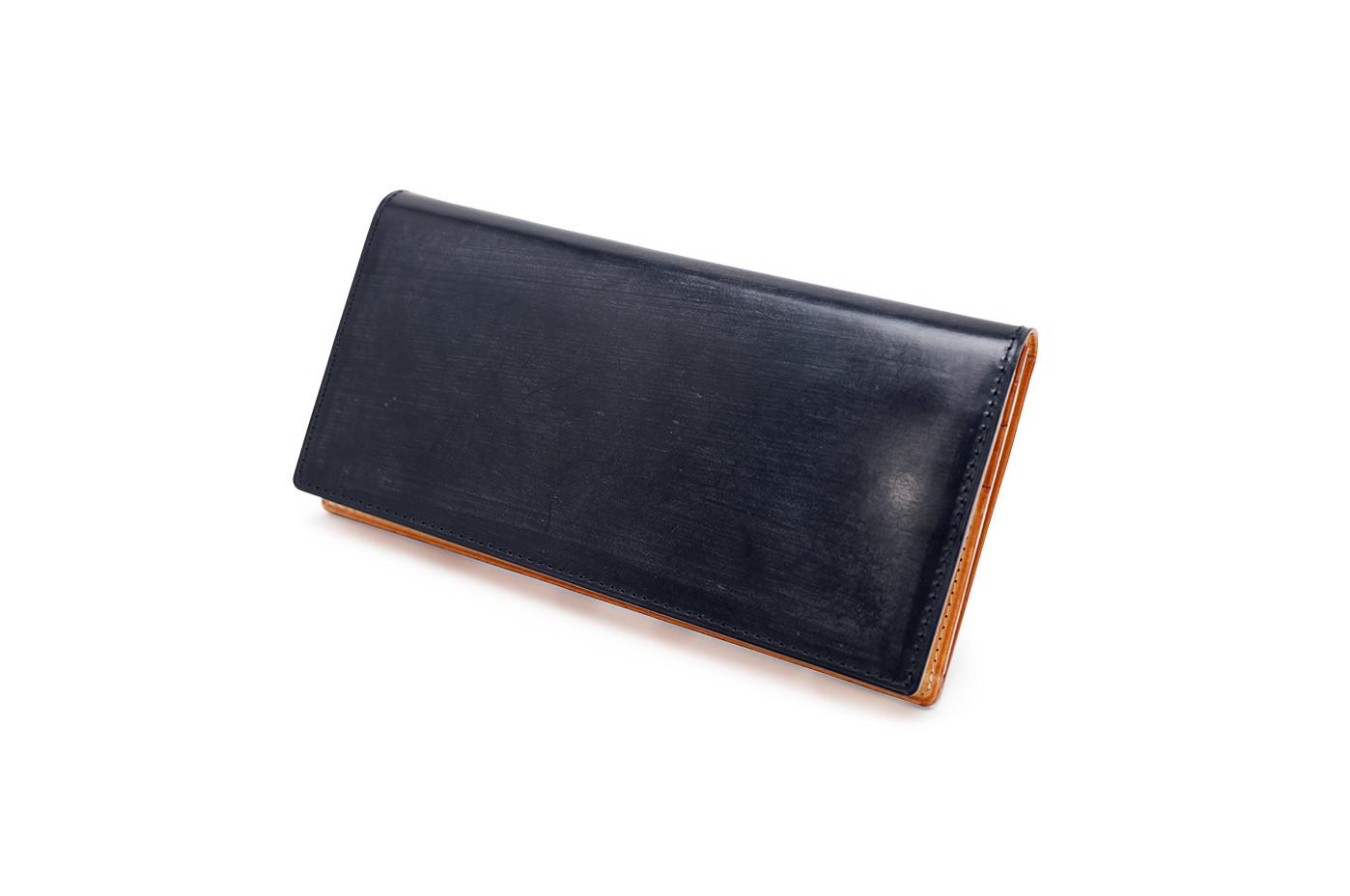 ガンゾ GANZO THIN BRIDLE (シンブライドル) ファスナー 小銭入れ付き 長財布 メンズ 財布 かぶせ ネイビー