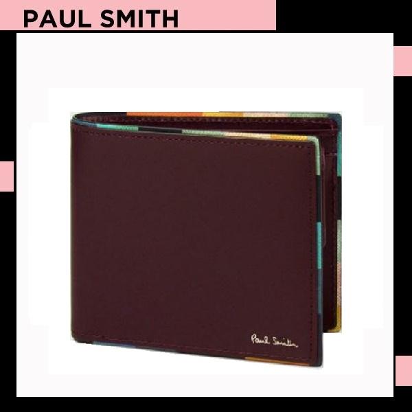 ポールスミス Paul Smith メンズ 財布 長財布 アーティスト ストライプ ポップ 2つ折り 財布 バーガンディー 送料無料 代引き料有料 消費税込
