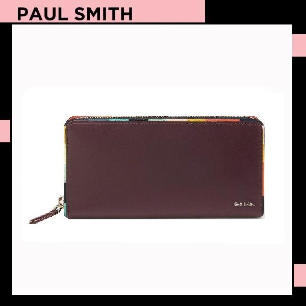 ポールスミス Paul Smith メンズ 財布 長財布 アーティスト ストライプ ラウンドジップ バーガンディー 送料無料 代引き料有料 消費税込