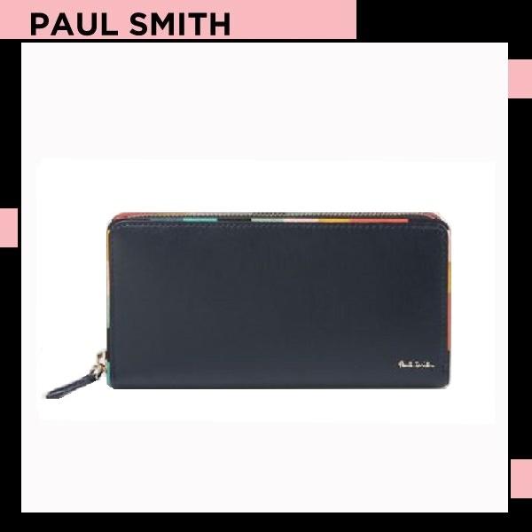 ポールスミス Paul Smith メンズ 財布 長財布 アーティスト ストライプ ラウンドジップ ネイビー 送料無料 代引き料有料 消費税込