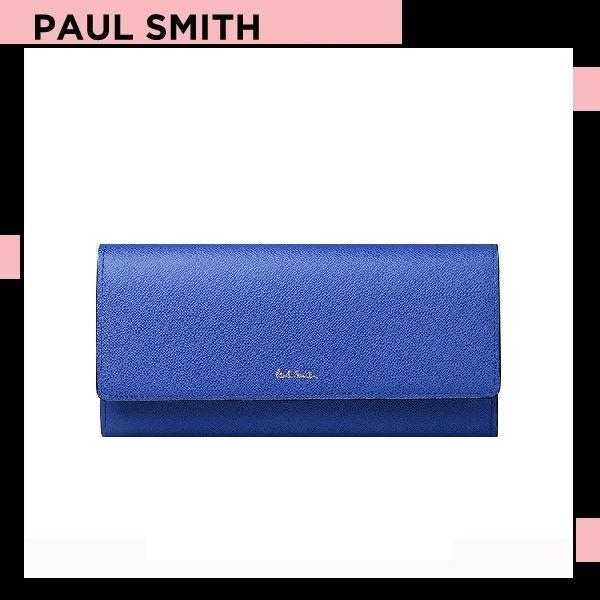ポールスミス Paul Smith レディース 財布 長財布 かぶせ ミニラビット 長財布 ブルー 送料無料 代引き料有料 消費税込