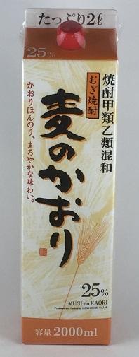 送料無料 甲乙混和 麦焼酎 麦のかおり 25度 2L パック × 12本 ケース まとめ買い