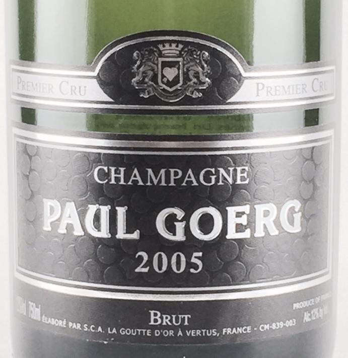 シャンパーニュ・ポール・グール ミレジム 2005 プルミエ・クリュ  750ml
