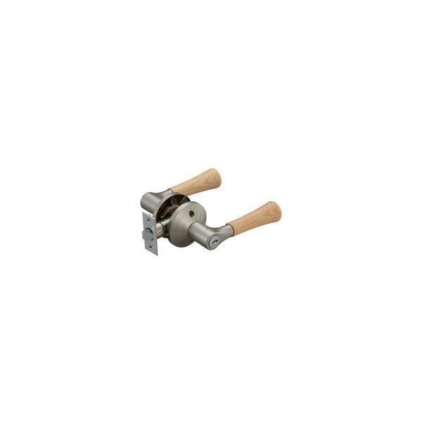 ドアノブ レバーハンドル マツ六 ECLE 兼用取替バリアフリーレバー錠 鍵付間仕切錠 木製レバータイプ EL5060-35MW-NSNC Nシルバー/Nクリア