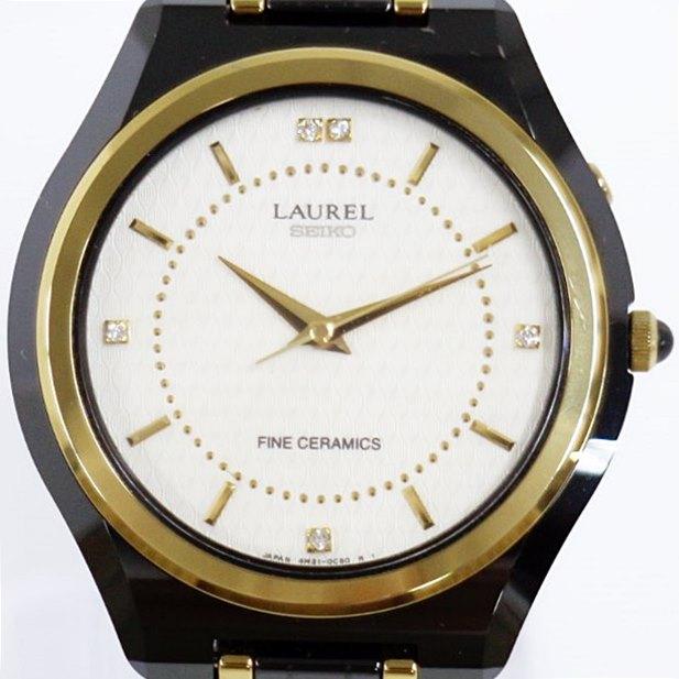 【時計】 SEIKO LAUREL FINECERAMICS セイコー ローレル 4M21-0B0A セラミック キネティック メンズ 腕時計 白文字盤 【中古】