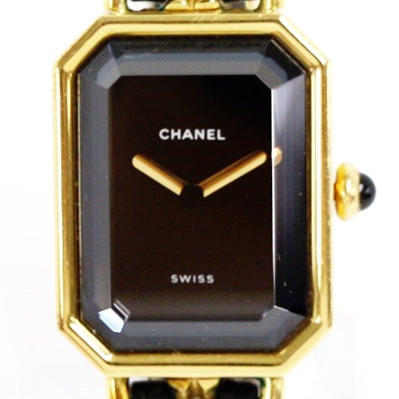 【時計】 CHANEL シャネル プルミエール サイズL クオーツ レディース 腕時計 黒文字盤  ブラック×ゴールド 2019.10/5電池交換済 【中古】